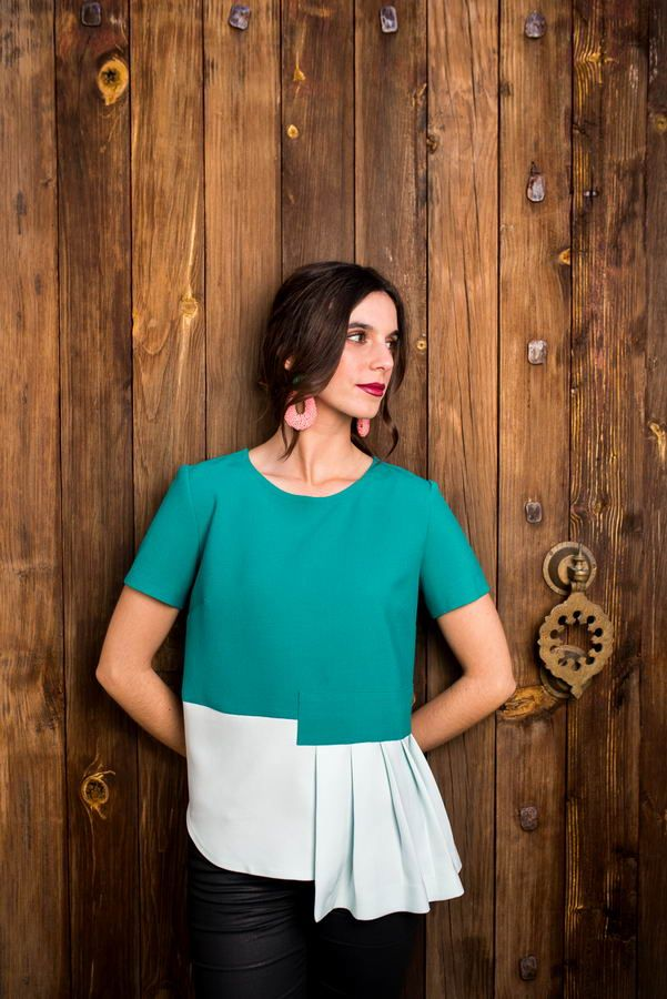 Truffles to DressStong Coincidences_Mint Assymetric Pleated 1_resize