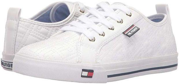 4 populares sapatilhas clássicas brancas Tommy Hilfiger para mulher