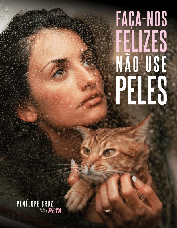 Penépole Cruz em nova campanha para a PETA