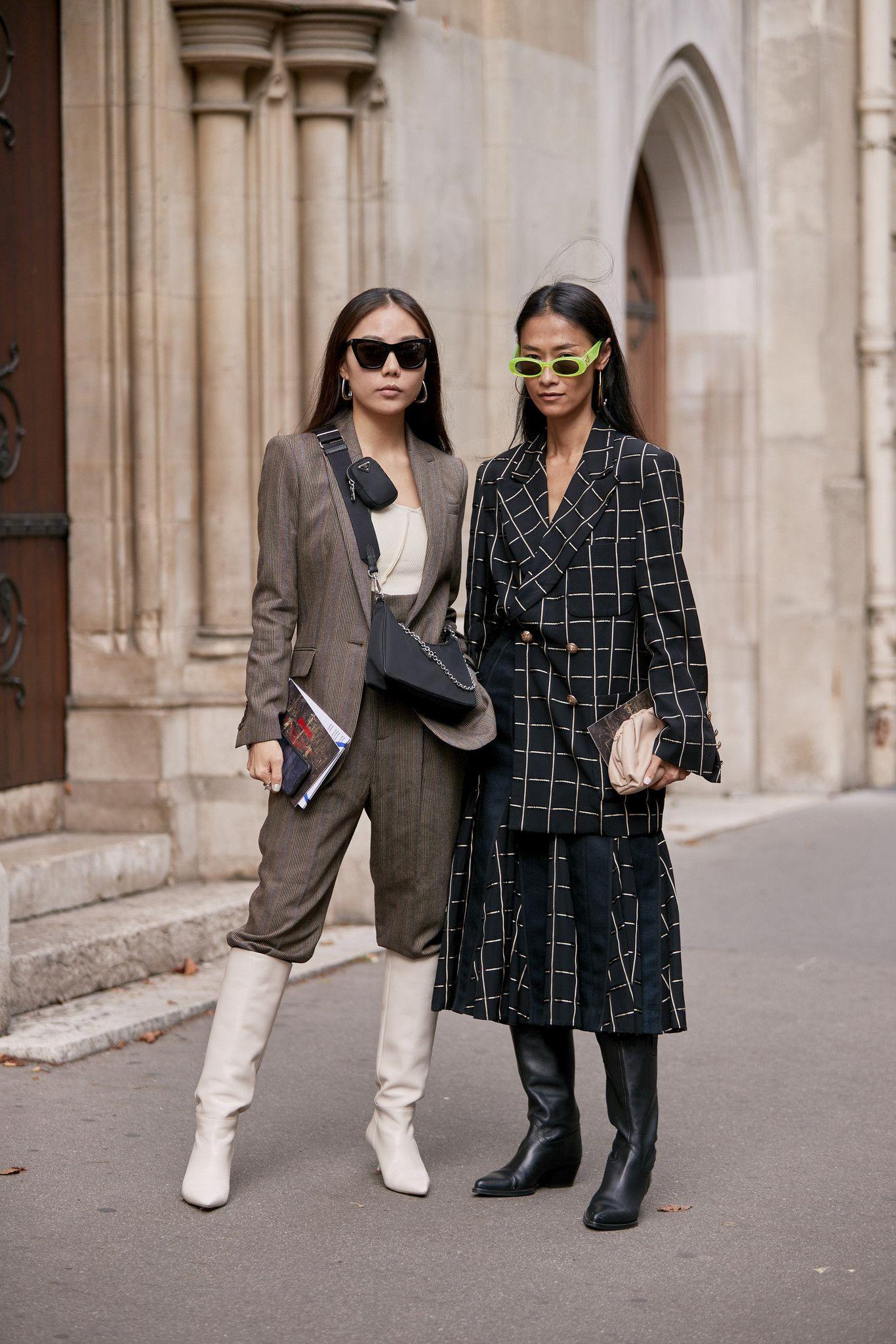 Prancha, cabelo liso e risca ao meio: o street style